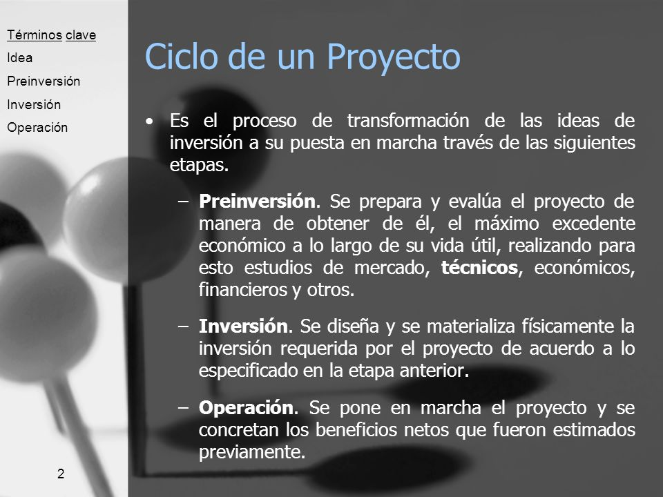 Términos clave Idea. Preinversión. Inversión. Operación. Ciclo de un Proyecto.