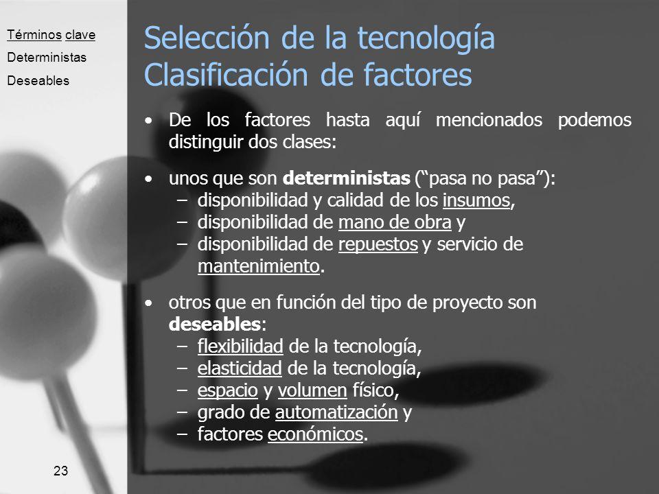 Selección de la tecnología Clasificación de factores
