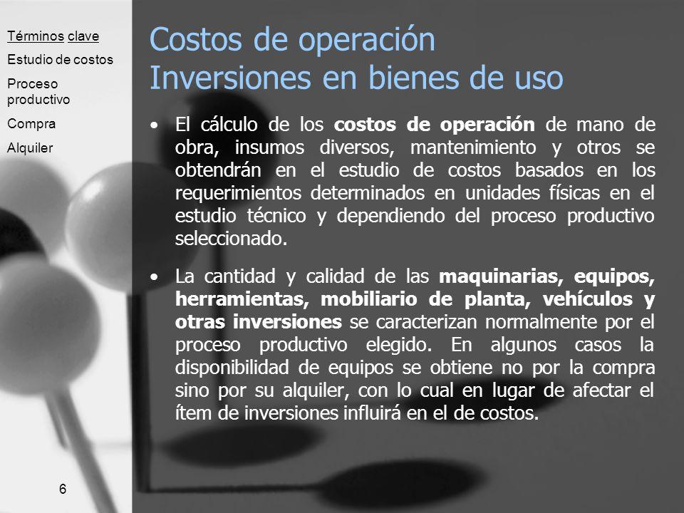 Costos de operación Inversiones en bienes de uso