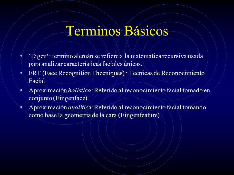 Terminos Básicos 'Eigen : termino alemán se refiere a la matemática recursiva usada para analizar características faciales únicas.