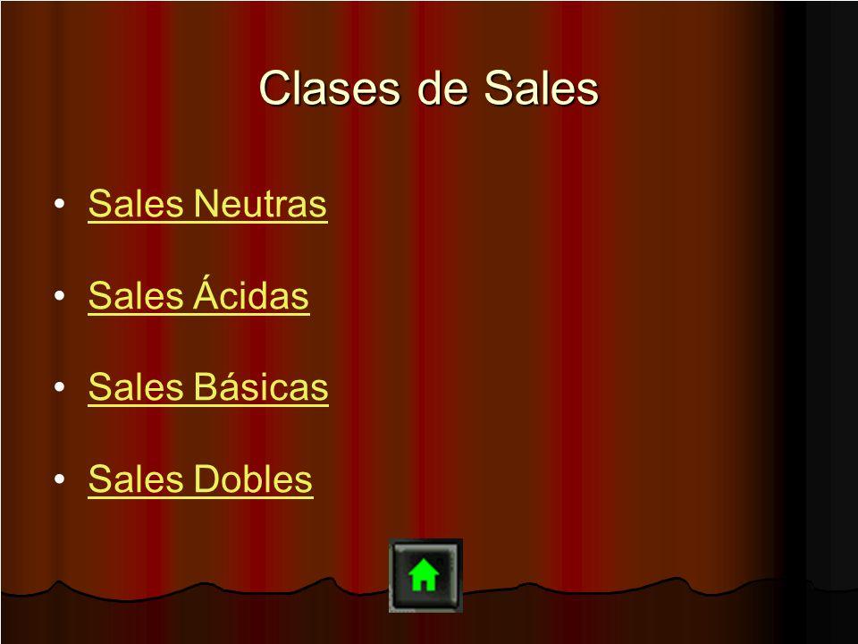 Clases de Sales Sales Neutras Sales Ácidas Sales Básicas Sales Dobles