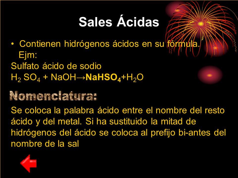 Sales Ácidas Nomenclatura: Contienen hidrógenos ácidos en su fórmula.