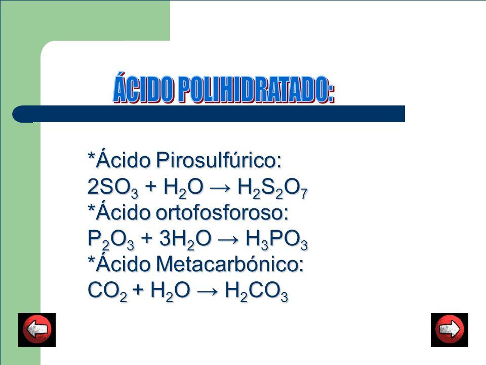 ÁCIDO POLIHIDRATADO: *Ácido Pirosulfúrico: 2SO3 + H2O → H2S2O7