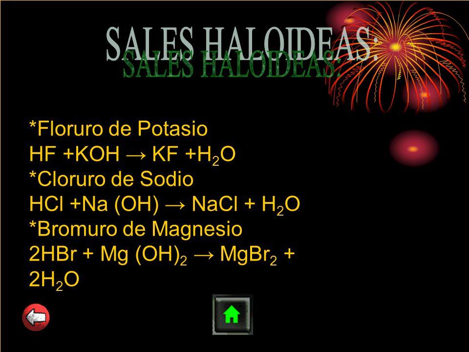 SALES HALOIDEAS: *Floruro de Potasio HF +KOH → KF +H2O