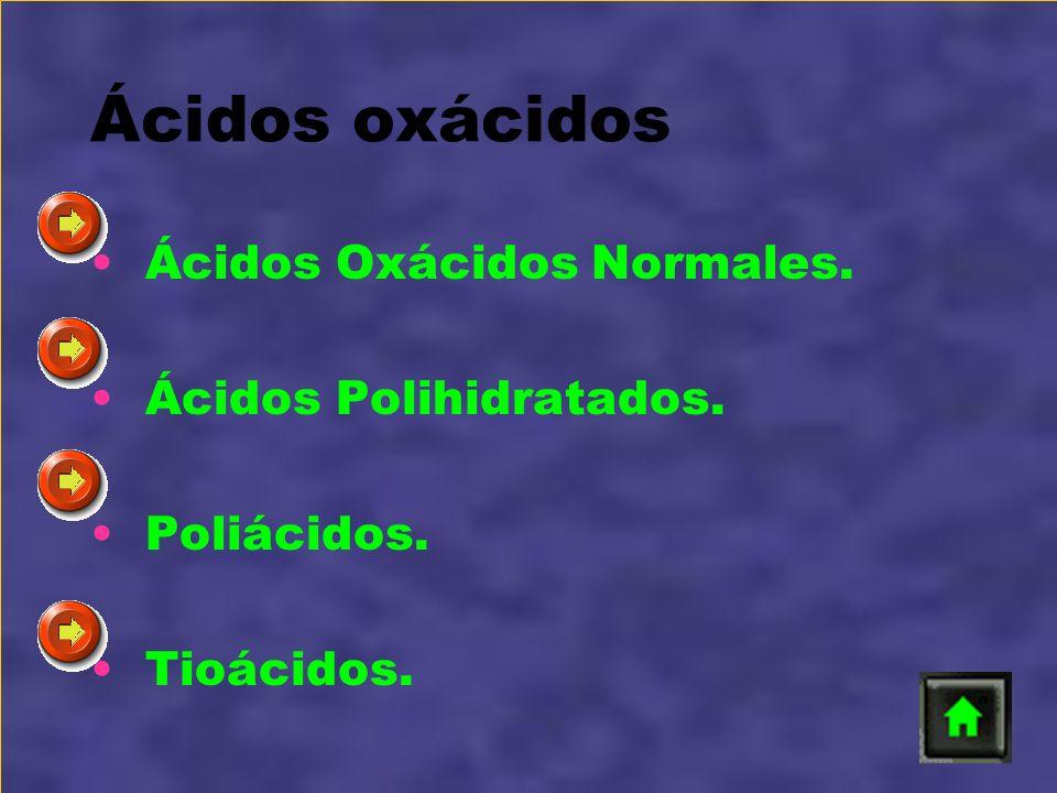 Ácidos oxácidos Ácidos Oxácidos Normales. Ácidos Polihidratados.