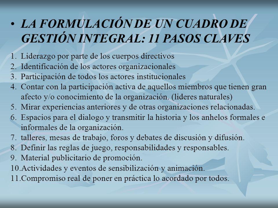 LA FORMULACIÓN DE UN CUADRO DE GESTIÓN INTEGRAL: 11 PASOS CLAVES