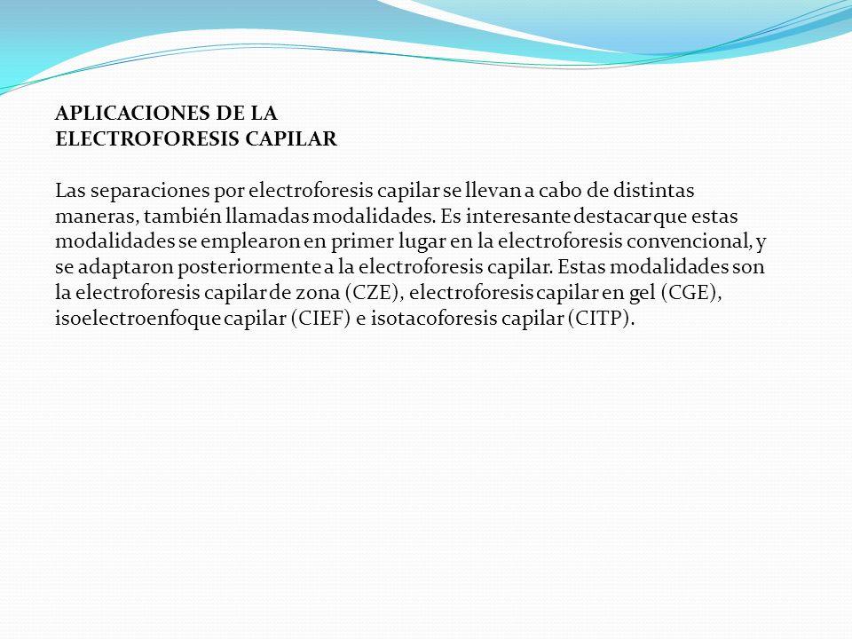 APLICACIONES DE LA ELECTROFORESIS CAPILAR.