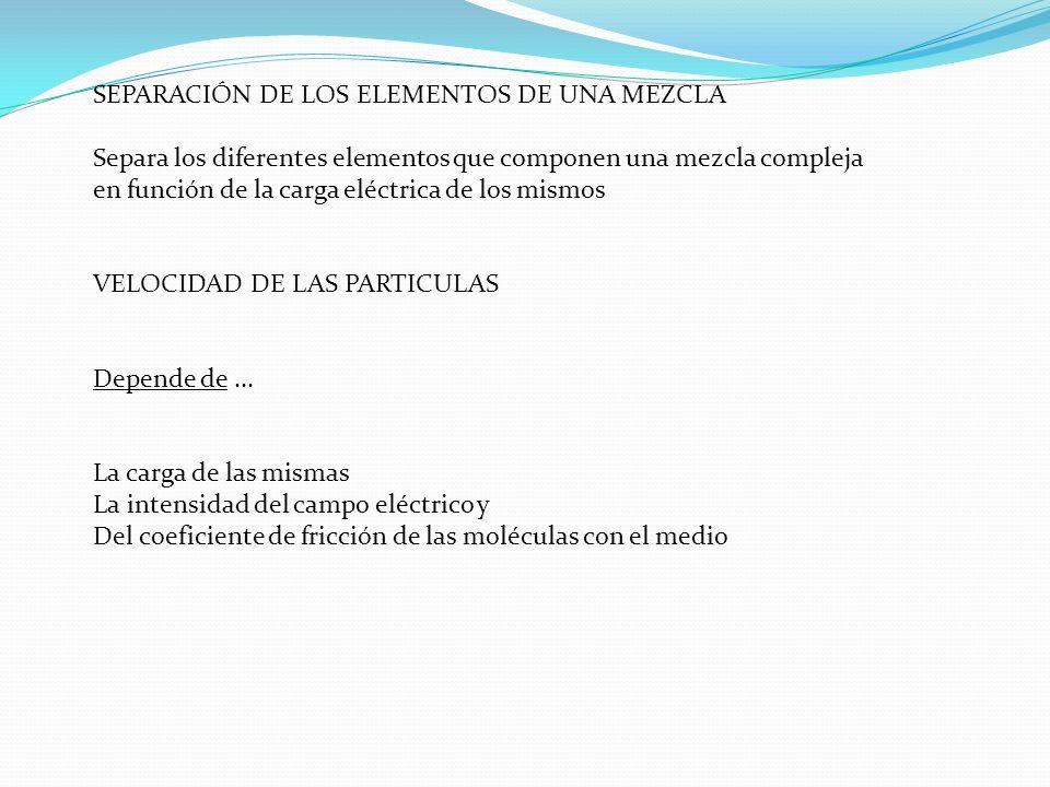 SEPARACIÓN DE LOS ELEMENTOS DE UNA MEZCLA