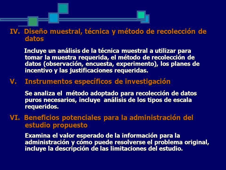 IV. Diseño muestral, técnica y método de recolección de datos