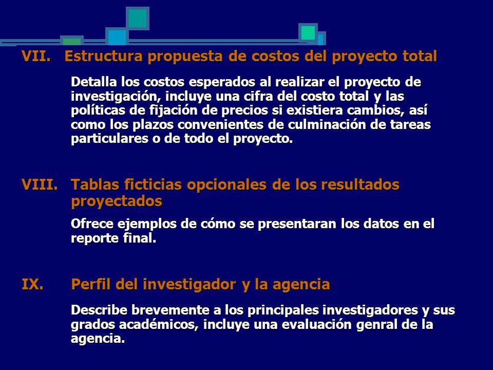 VII. Estructura propuesta de costos del proyecto total