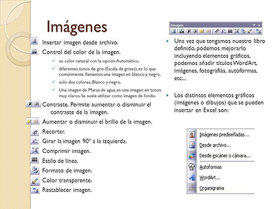 ImágenesInsertar imagen desde archivo. Control del color de la imagen. su color natural con la opción Automático,
