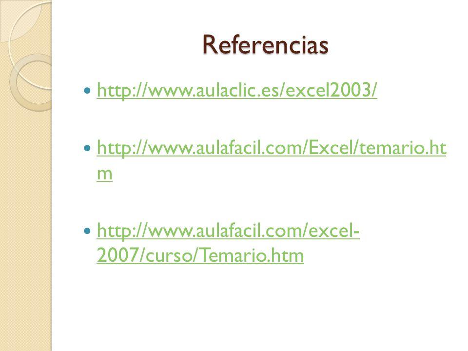 Referencias http://www.aulaclic.es/excel2003/