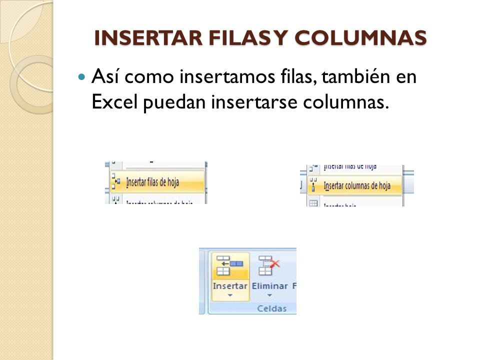 INSERTAR FILAS Y COLUMNAS
