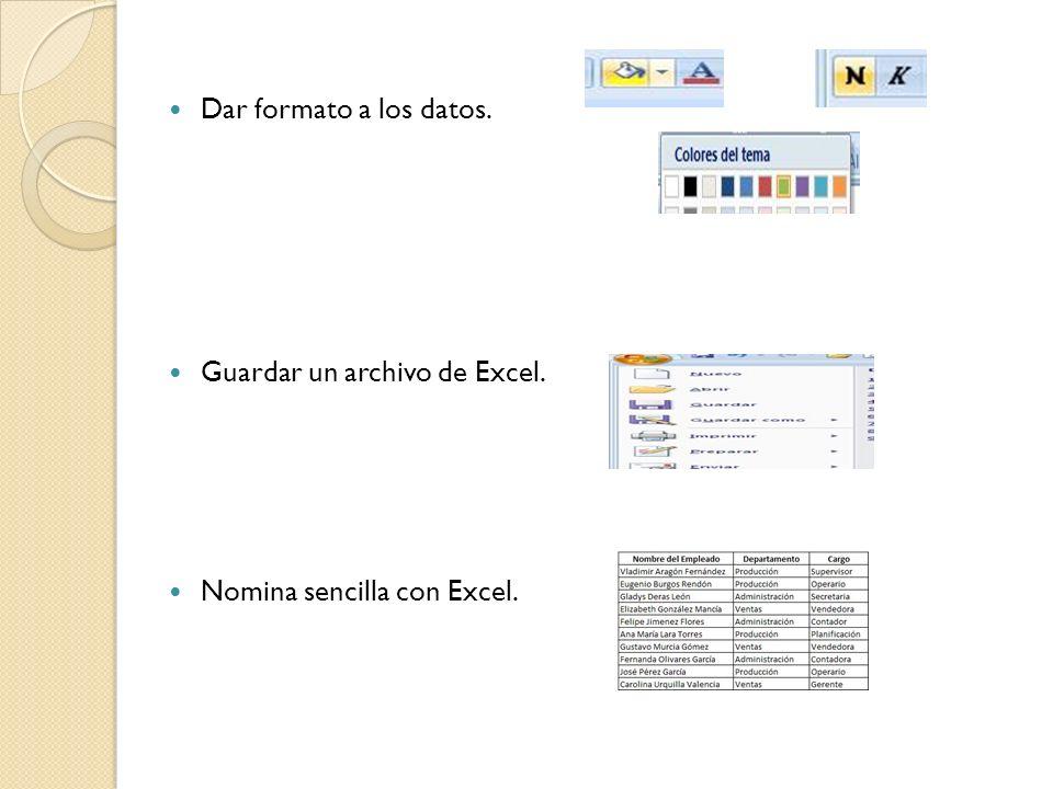 Guardar un archivo de Excel.