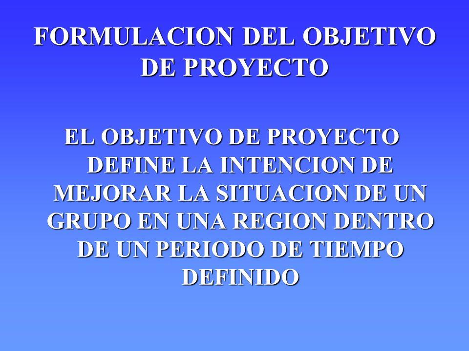 FORMULACION DEL OBJETIVO DE PROYECTO