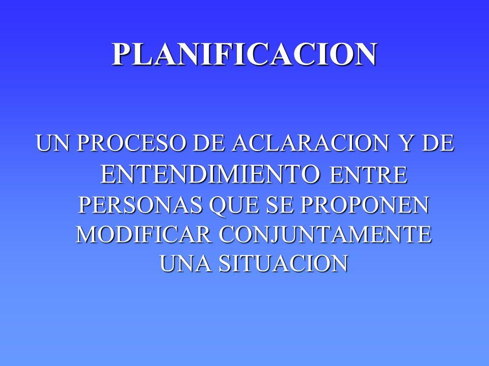PLANIFICACION UN PROCESO DE ACLARACION Y DE ENTENDIMIENTO ENTRE PERSONAS QUE SE PROPONEN MODIFICAR CONJUNTAMENTE UNA SITUACION.