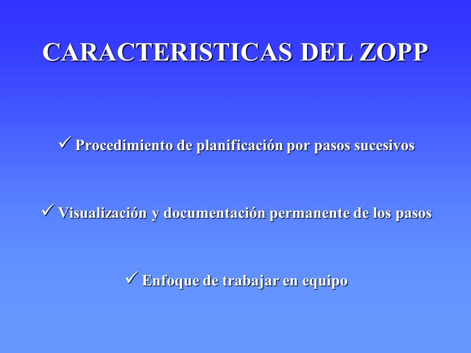 CARACTERISTICAS DEL ZOPP