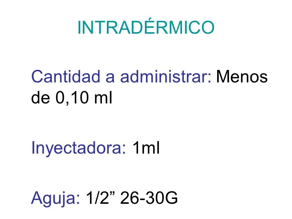 INTRADÉRMICO Cantidad a administrar: Menos de 0,10 ml Inyectadora: 1ml