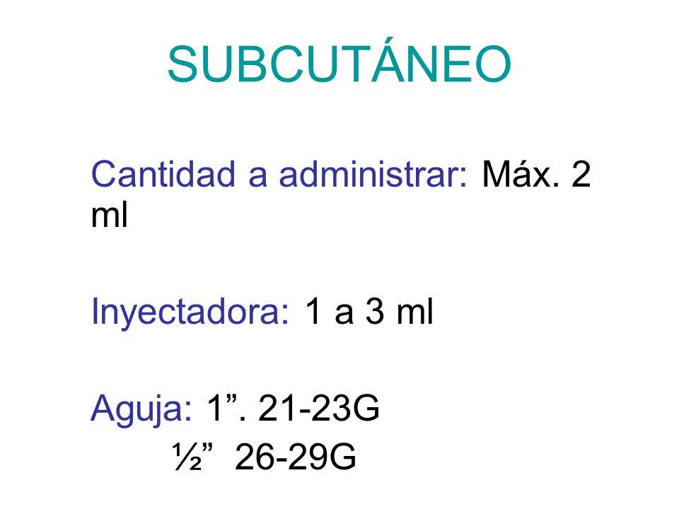SUBCUTÁNEO Inyectadora: 1 a 3 ml Aguja: 1 . 21-23G ½ 26-29G