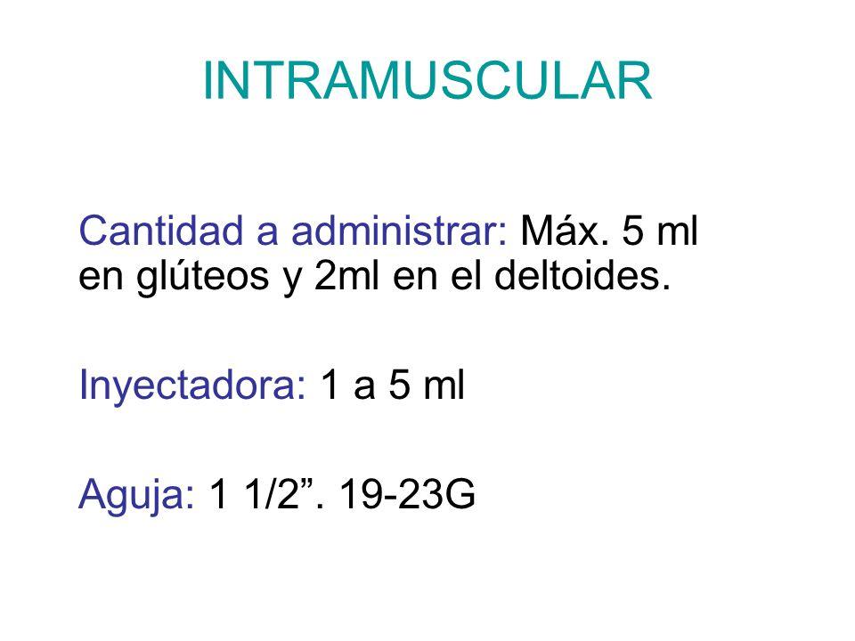 INTRAMUSCULAR Cantidad a administrar: Máx. 5 ml en glúteos y 2ml en el deltoides. Inyectadora: 1 a 5 ml.