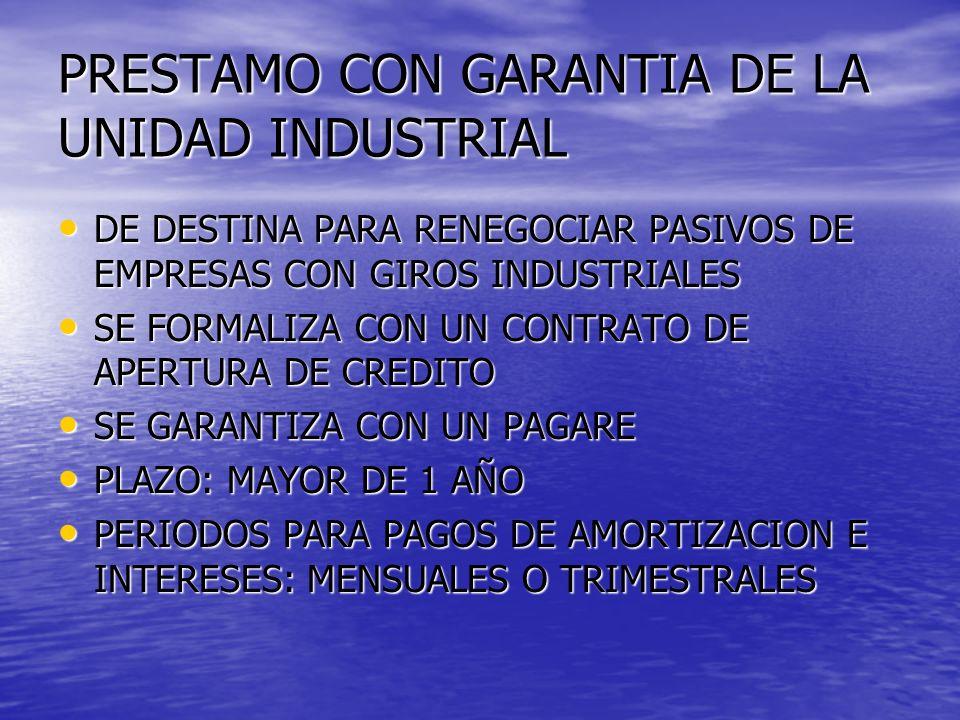 PRESTAMO CON GARANTIA DE LA UNIDAD INDUSTRIAL