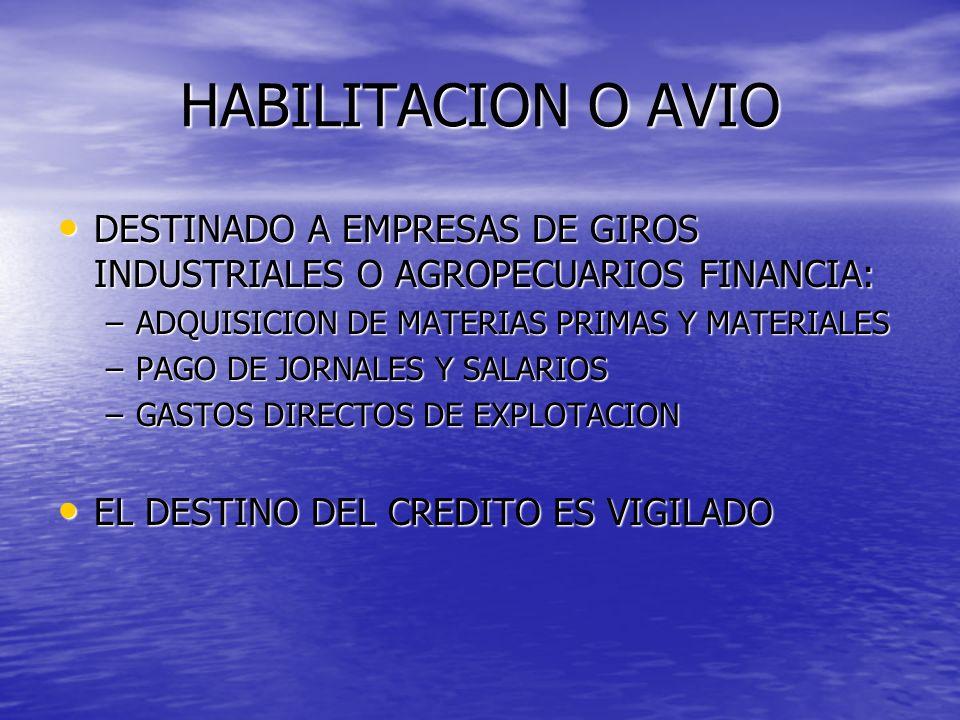 HABILITACION O AVIO DESTINADO A EMPRESAS DE GIROS INDUSTRIALES O AGROPECUARIOS FINANCIA: ADQUISICION DE MATERIAS PRIMAS Y MATERIALES.