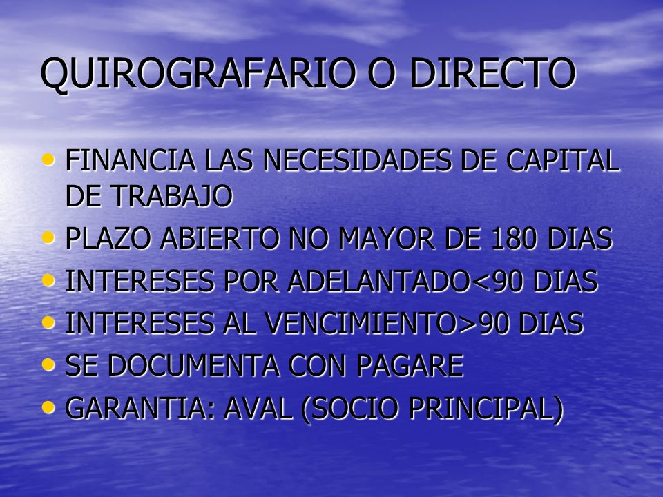 QUIROGRAFARIO O DIRECTO