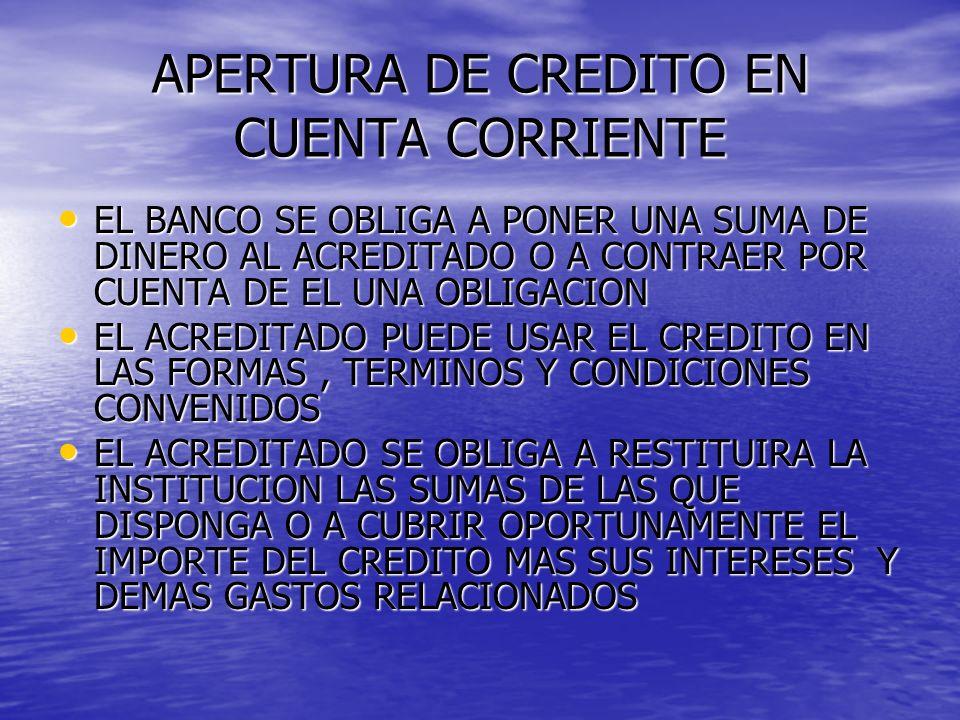 APERTURA DE CREDITO EN CUENTA CORRIENTE