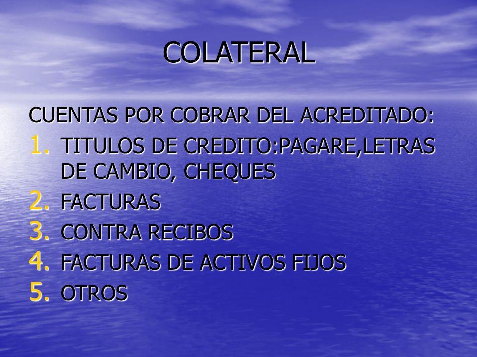 COLATERAL CUENTAS POR COBRAR DEL ACREDITADO:
