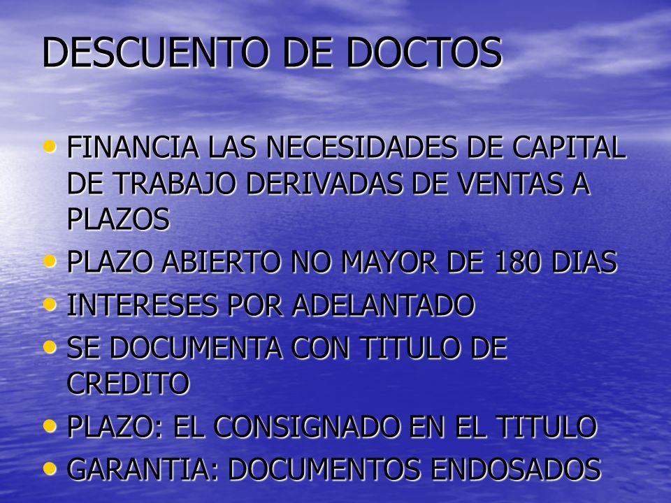 DESCUENTO DE DOCTOS FINANCIA LAS NECESIDADES DE CAPITAL DE TRABAJO DERIVADAS DE VENTAS A PLAZOS. PLAZO ABIERTO NO MAYOR DE 180 DIAS.