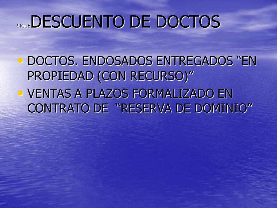 DOCTOS. ENDOSADOS ENTREGADOS EN PROPIEDAD (CON RECURSO)