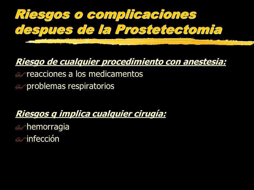 Riesgos o complicaciones despues de la Prostetectomia