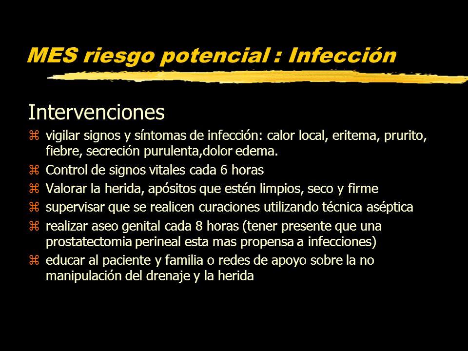 MES riesgo potencial : Infección