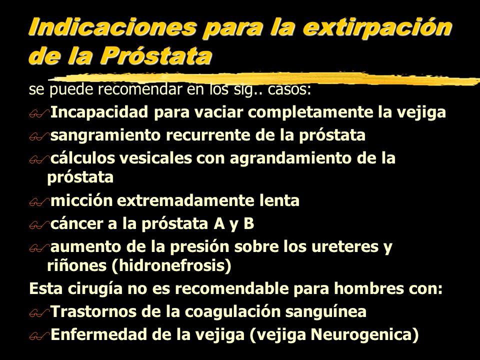 Indicaciones para la extirpación de la Próstata