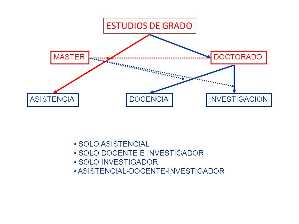ESTUDIOS DE GRADO MASTER DOCTORADO ASISTENCIA DOCENCIA INVESTIGACION