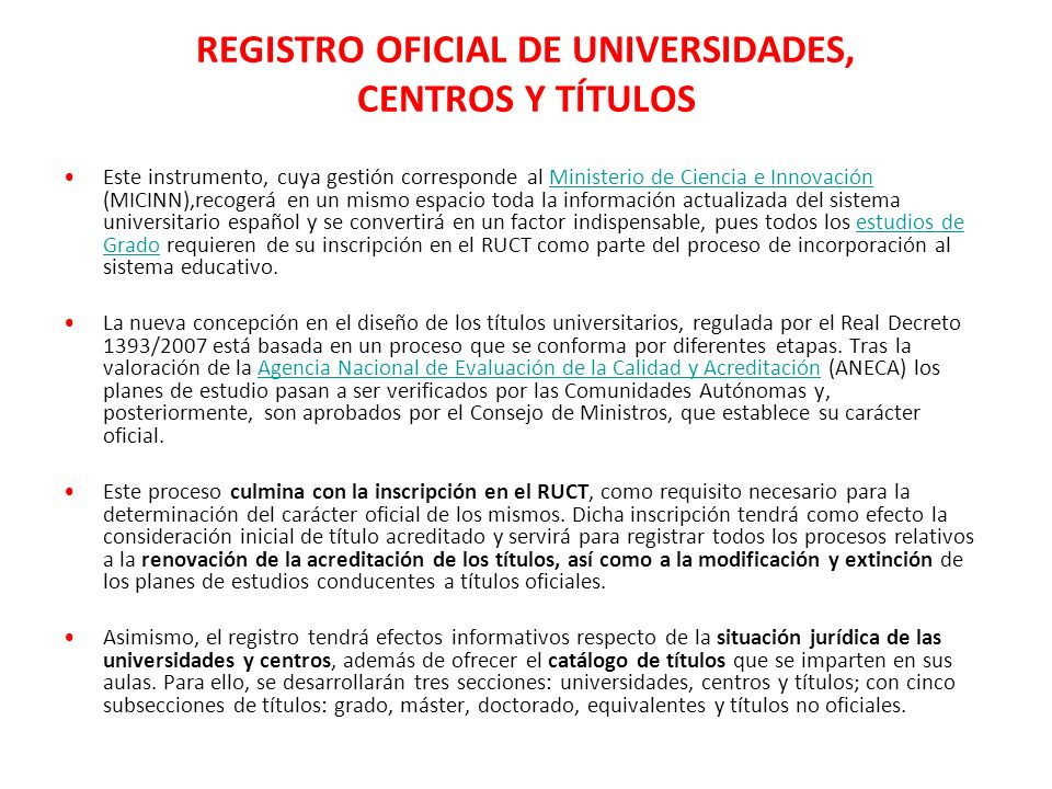 REGISTRO OFICIAL DE UNIVERSIDADES, CENTROS Y TÍTULOS