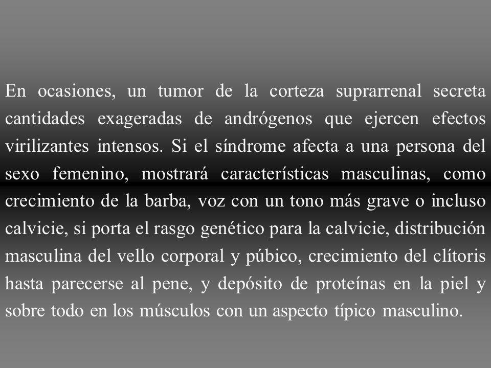En ocasiones, un tumor de la corteza suprarrenal secreta cantidades exageradas de andrógenos que ejercen efectos virilizantes intensos.