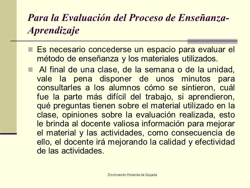 Para la Evaluación del Proceso de Enseñanza-Aprendizaje