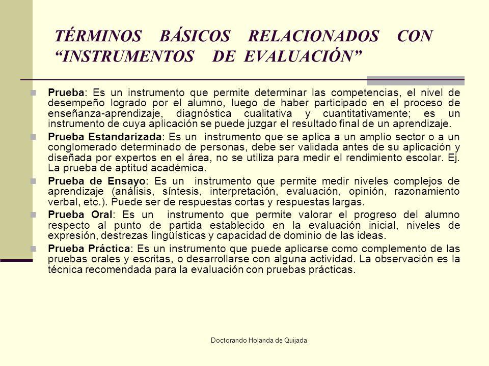 TÉRMINOS BÁSICOS RELACIONADOS CON INSTRUMENTOS DE EVALUACIÓN