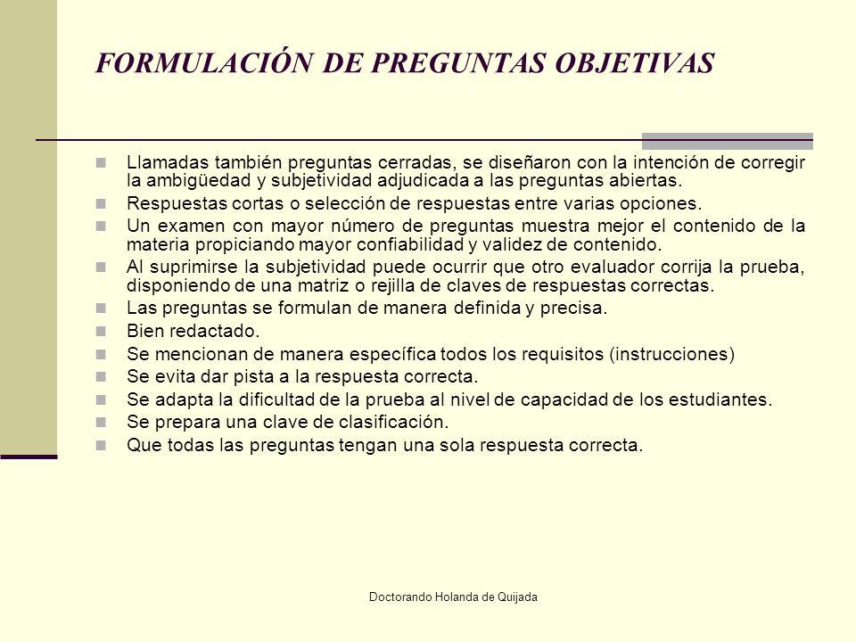 FORMULACIÓN DE PREGUNTAS OBJETIVAS