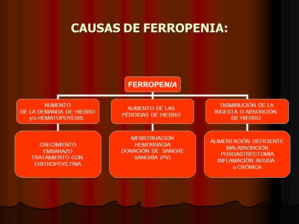 CAUSAS DE FERROPENIA: