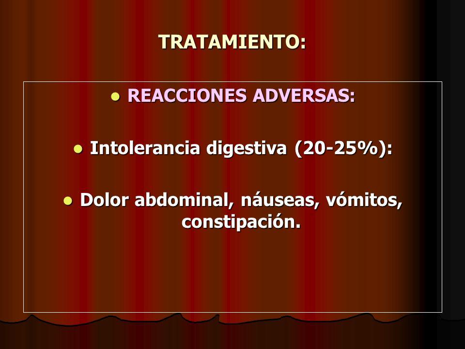 TRATAMIENTO: REACCIONES ADVERSAS: Intolerancia digestiva (20-25%):