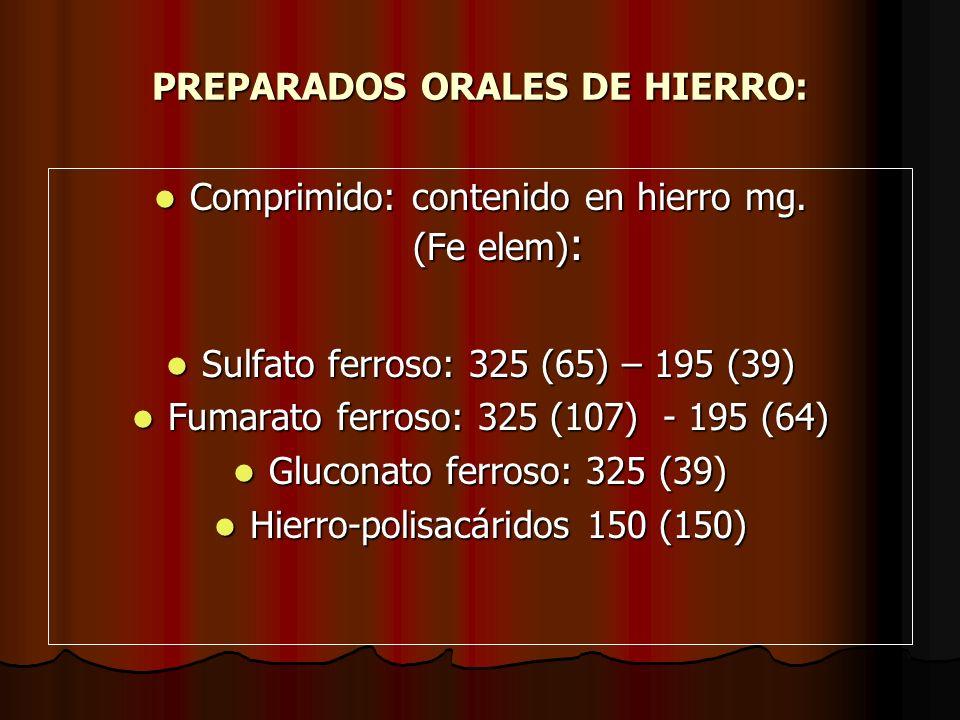 PREPARADOS ORALES DE HIERRO: