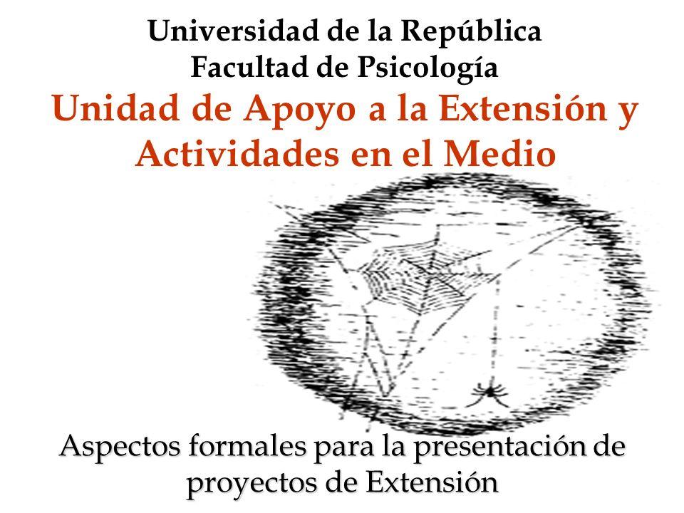 Aspectos formales para la presentación de proyectos de Extensión