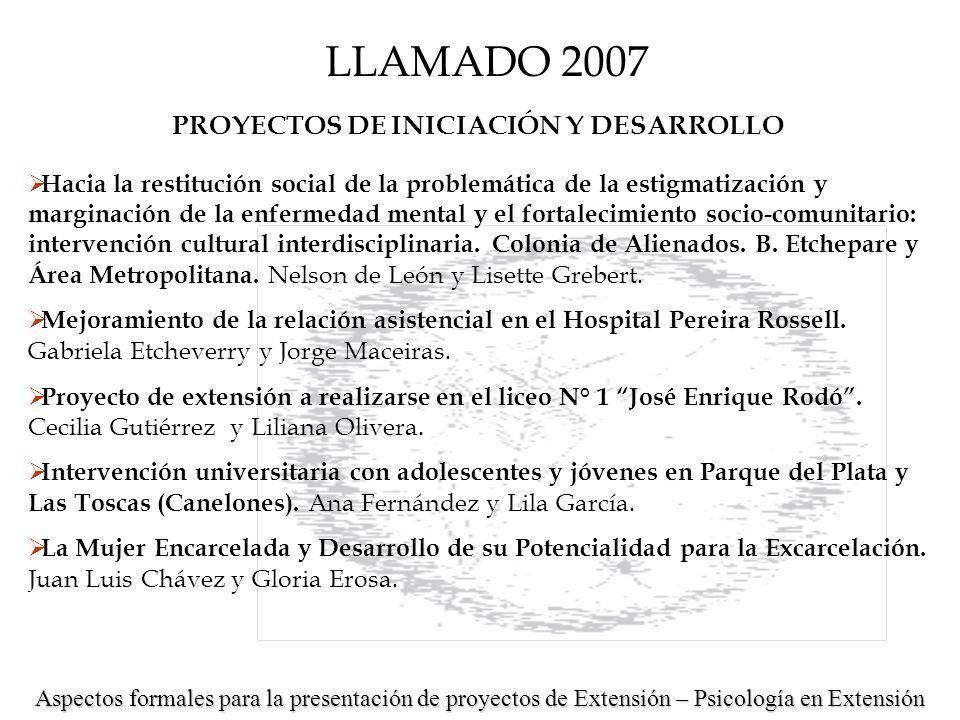 PROYECTOS DE INICIACIÓN Y DESARROLLO