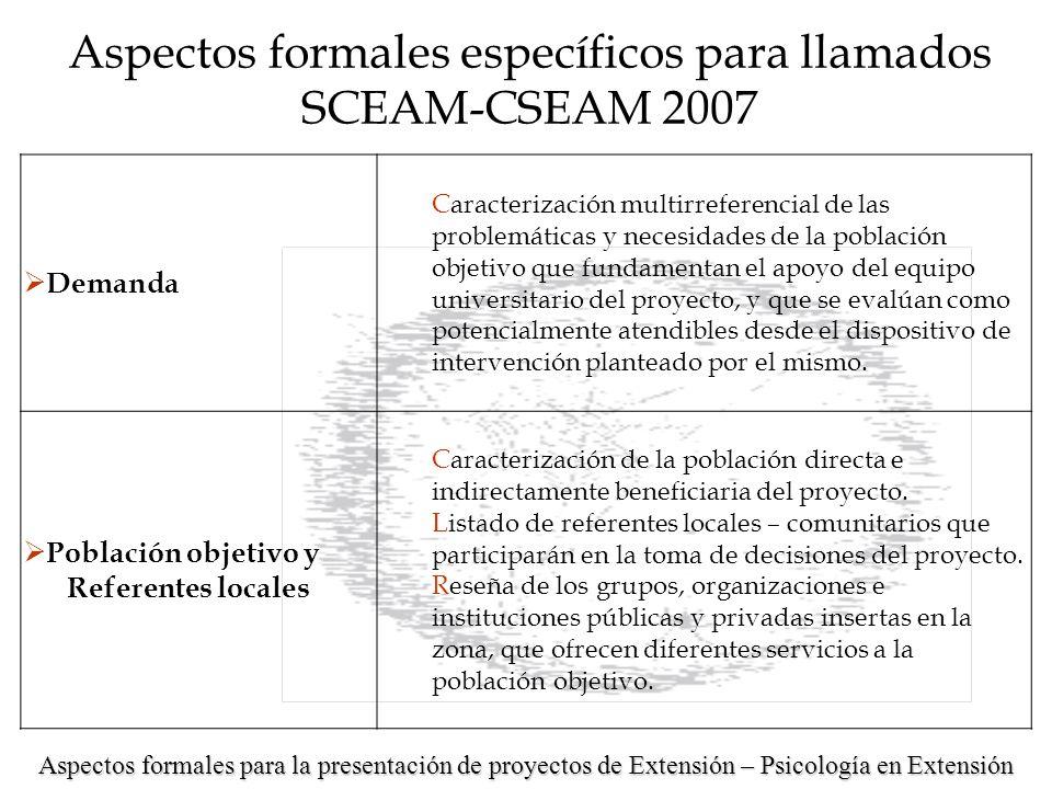 Aspectos formales específicos para llamados SCEAM-CSEAM 2007