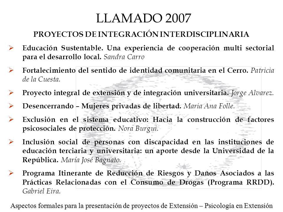 PROYECTOS DE INTEGRACIÓN INTERDISCIPLINARIA