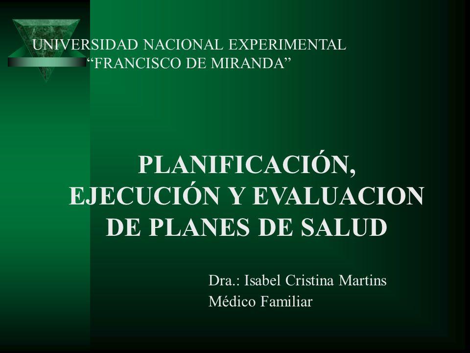 PLANIFICACIÓN, EJECUCIÓN Y EVALUACION DE PLANES DE SALUD