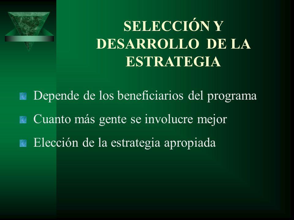 SELECCIÓN Y DESARROLLO DE LA ESTRATEGIA