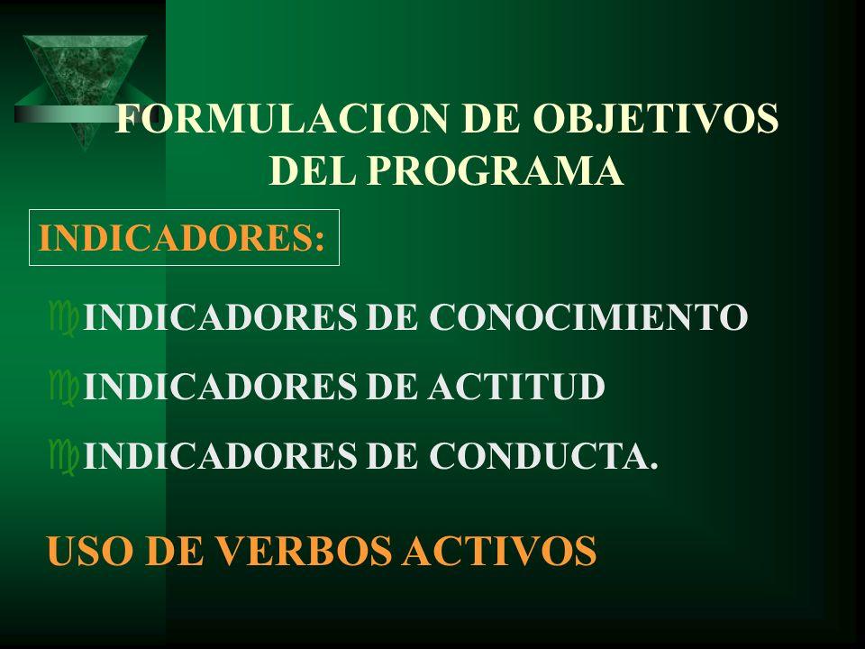 FORMULACION DE OBJETIVOS DEL PROGRAMA